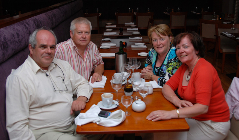 Paul, Joe, Maria, Mary enjoying coffee at the end of a wonderful meal at The French Table.