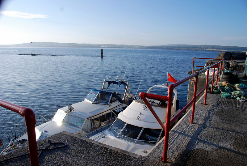 Moored at Liscannor with Lahinch in the background.