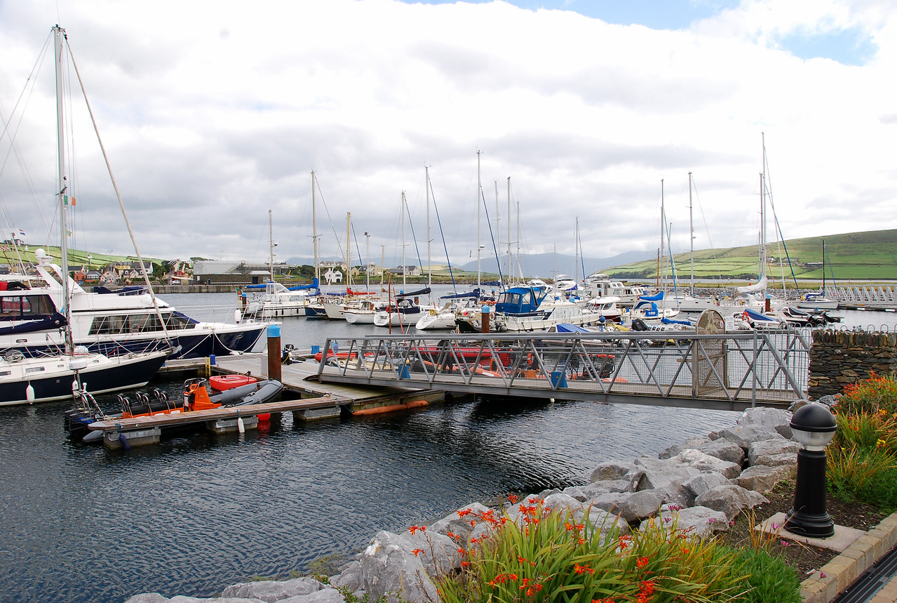 """Arthur"", (blue canopy) moored in Dingle Marina."