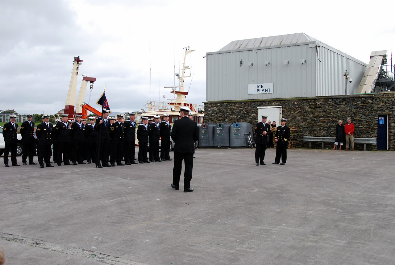 Guard of honour is deployed on the quayside and the ceremony is about to begin. I manged to video the entire proceedings and will hope to put together a short video clip of same in due course.  Weather was glorious for the occasion.
