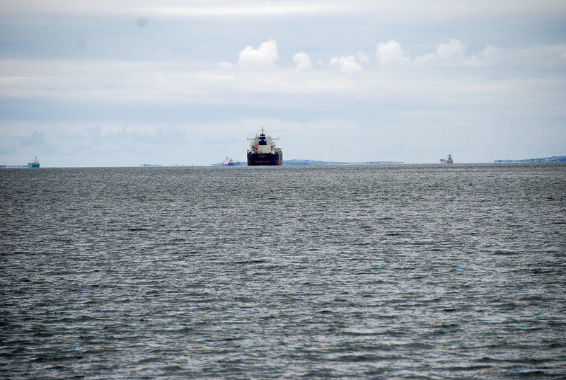 """'Lucky Sunday' leaves """"Arthur"""" in her wake and joins the other tankers and large vessels planning their passage down the Shannon Estuary..."""