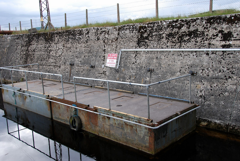 Newly installed mooring facility to assist users of keypad for opening/closing sluice gate.