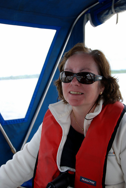 We were approximately half-way between Aughinish and Tarbert when  we noticed 'Lucky Sunday' hot on our tail.  She was coming abreast of Foynes when we first noticed that she was coming our way. Initially we thought that we could out run her and get past Moneypoint before she would reach us. I put boot to the floor and after just 15 mins gave up and made contact with her on VHF and signalled my intention to exit the main channel to allow her to pass unhindered!  Mary and I watched in awe as this huge vessel passed by with an absolute minimum of wake.