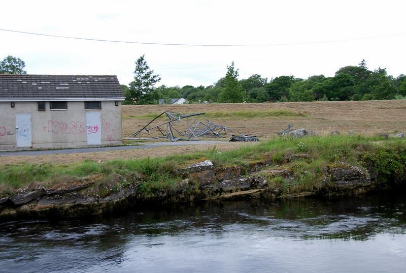 Discarded eel net structures ....
