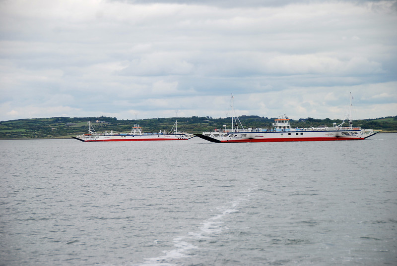 Killimer-Tarbert ferries in mid-channel...
