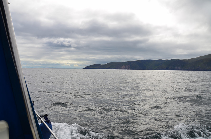 Brandon Head in the distance. And we are still benefitting from a wonderful following sea. Each time that a wave passes underneath us our speed increases by up to 2 knots! ...The joys of coastal cruising.
