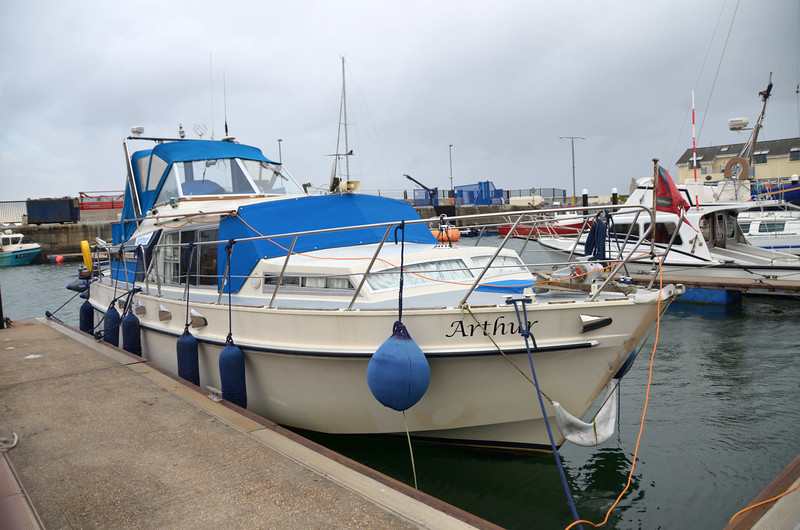"""Arthur"" in Fenit Marina.  It is nice to be back. And we received a warm welcome from Christy and John."