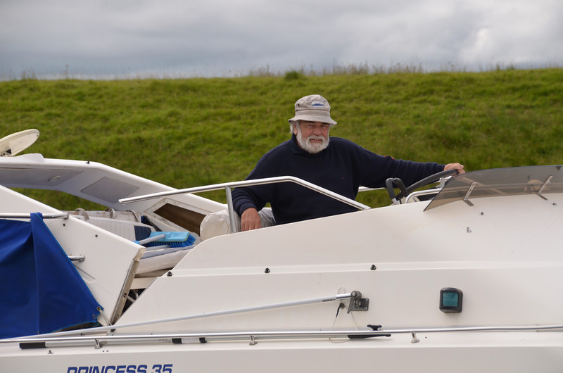 A relaxed John Ryan on-board his Princess 35, Rapport....