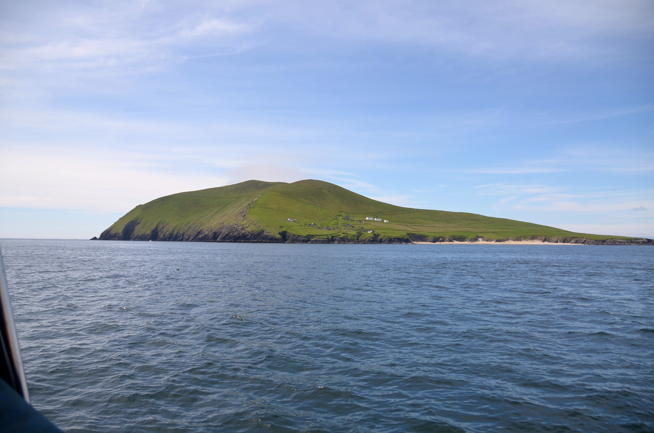 The Great Blasket with beach on the right of picture.