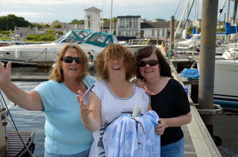 """Cruising Club gals! (L to R) Marguerite Maher (Gerda), Fionnuala Smyth (Shee Finnaha), Mary Healy (""""Arthur"""") in Kilrush Creek Marina. Gerda and She Finnaha are with the IWAI CIC to Limerick/Kilrush which was superbly organised by Noel Griffin ably assisted by Dave McCabe."""