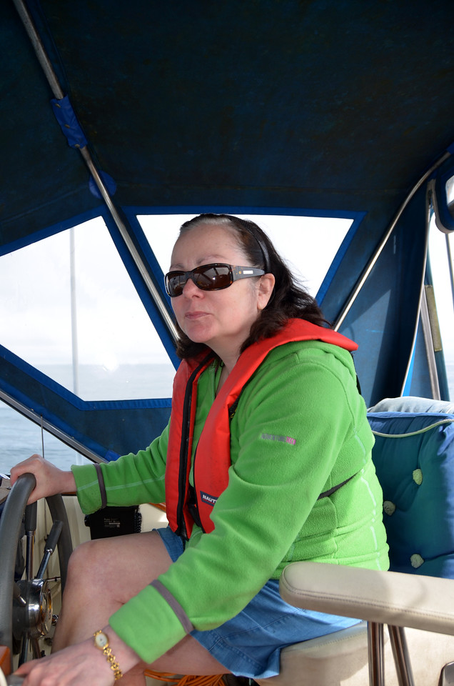 Mary at the helm while I take some photos.