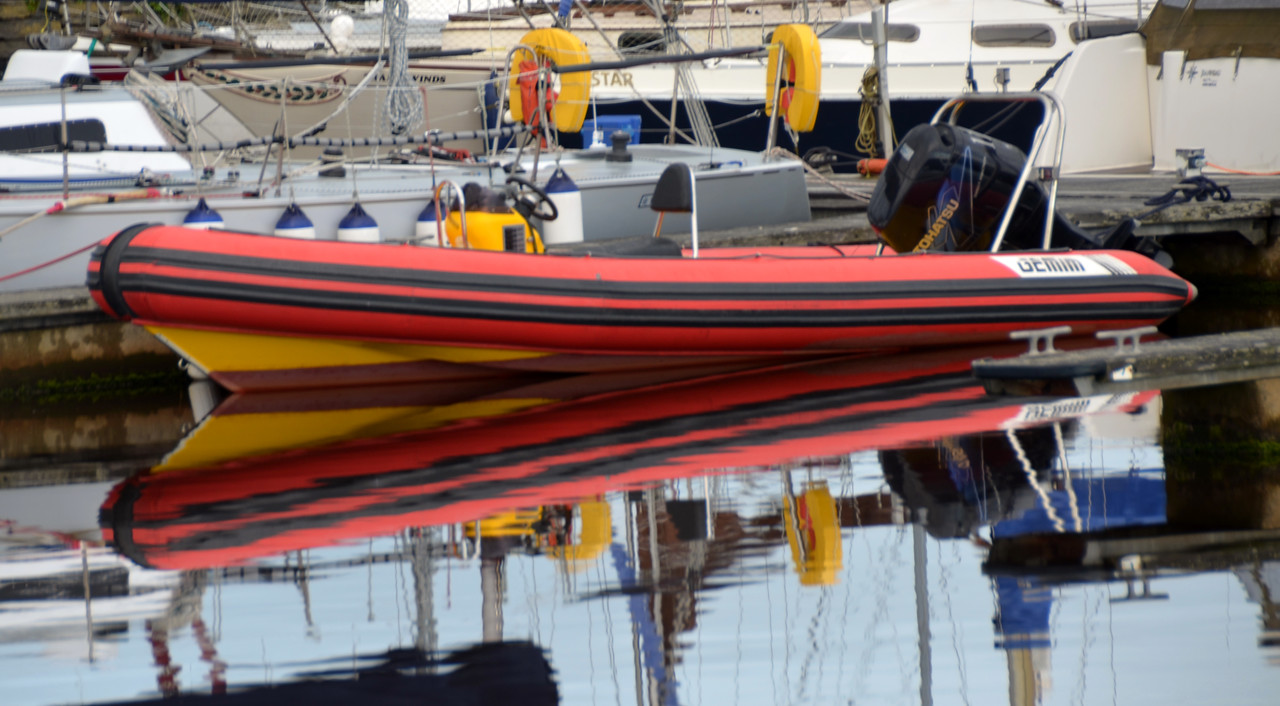And so, after a relatively smooth passage, we arrive at Kilrush Creek Marina circa 16.00hrs. I liked the reflection of this colourful RIB.