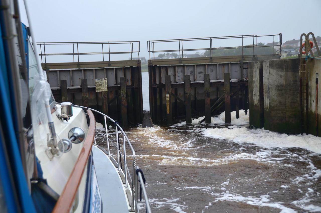 """Arthur"" in the lock at Kilrush Creek Marina..."