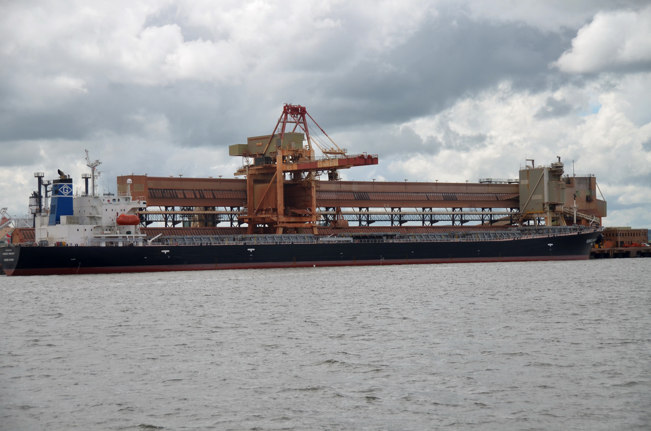A large cargo vessel at the Aughinish Alumina terminal.