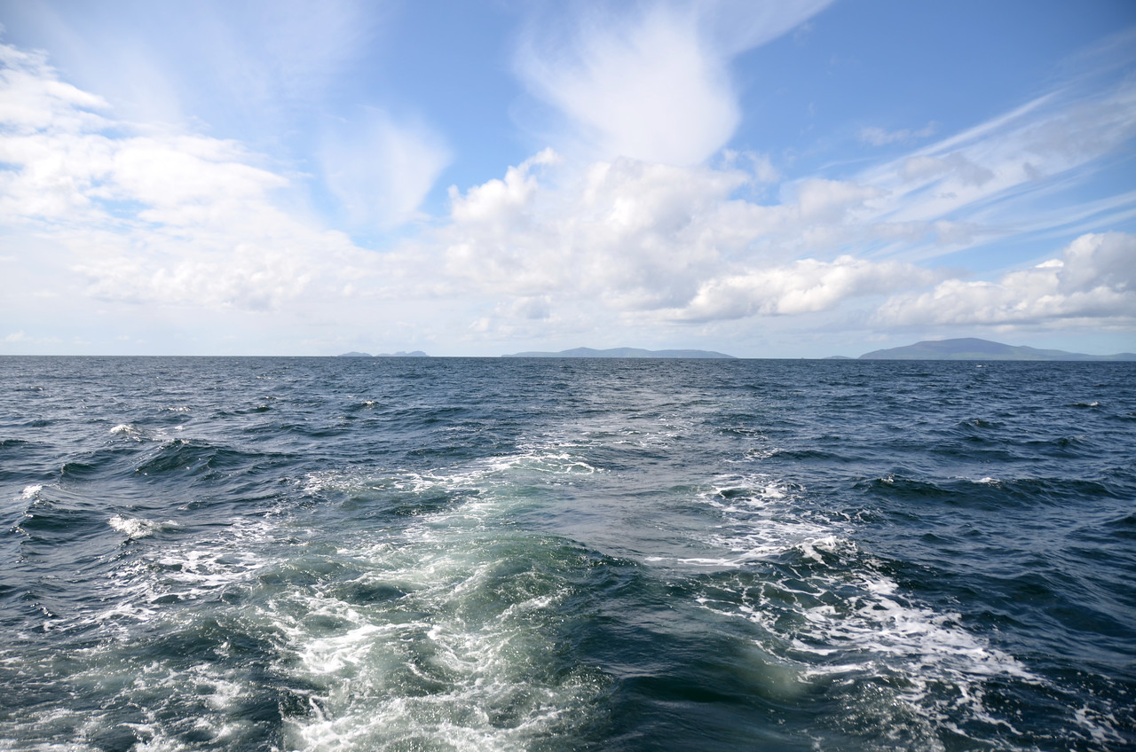 Looking astern....Dingle Bay...with the Blasket Islands in the distance.
