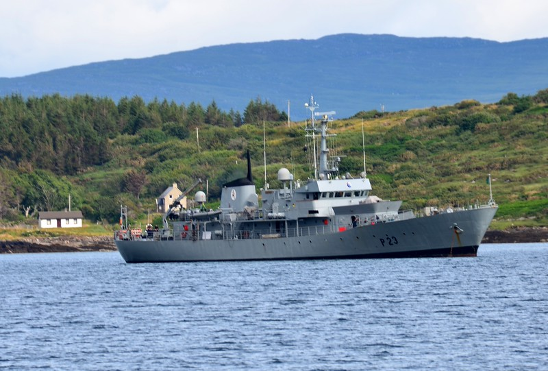 P. 23 ... L.E. Aisling of the Irish Naval Service anchored just off Lawrence Cave.