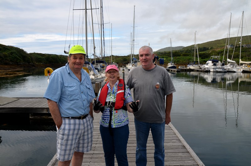 Len and Pauline with Anthony of 'Seagulls & Salt', a 32ft Jeanneau Prestige which he and Catherine sail each year from Crosshaven to Lawrence Cove.