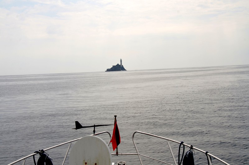 12.30...The Fastnet Rock looms large straight in front of us. Just under four hours since we departed Lawrence Cove.