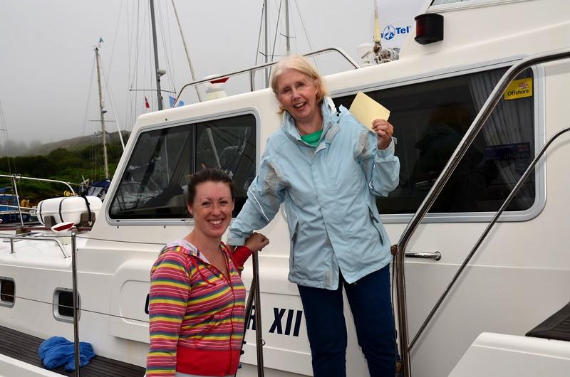 Pauline receiving a warm welcome from Rachel Harrington of Lawrence Cove Marina.