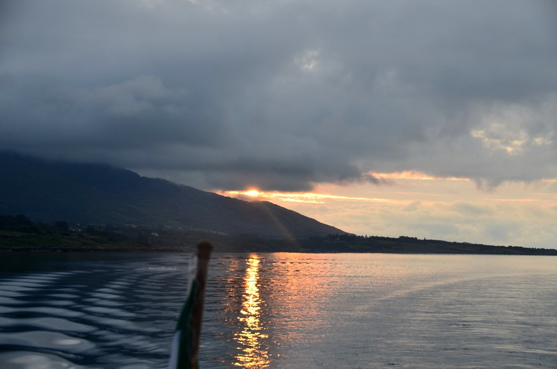 On Berehaven ...looking astern as the sun rises on Hungry Hill.