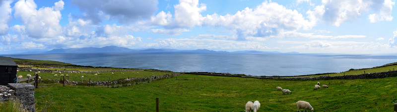 A panorama of Dingle Bay.  On the far side of the bay....Valentia Island headland can be seen on the right of picture.
