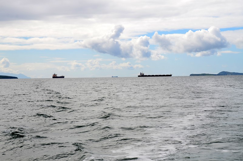 Looking back down the Shannon Estuary. Three tankers/cargo ships waiting to move.