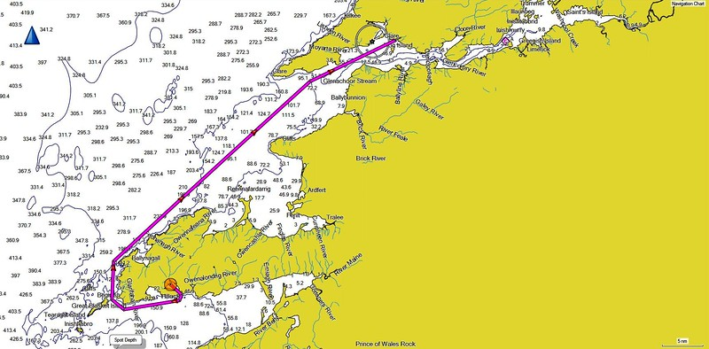 Our route from Dingle to Kilrush...approximately 62 nautical miles. Passage time will be close to eight and a half hours.