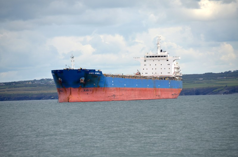 A typical example of the many tankers / cargo ships that ply these waters.  They wait for the right conditions before moving.