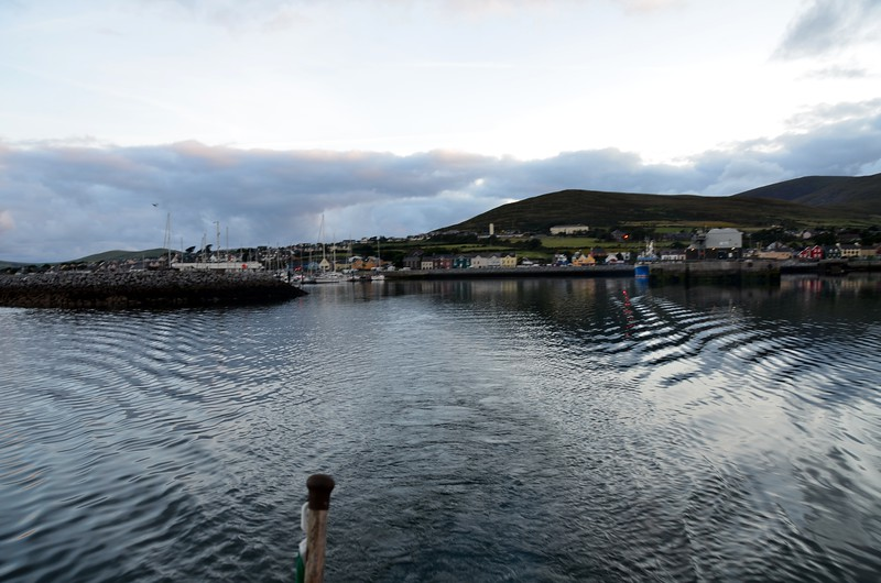 Circa 07:00...Dingle Marina on the left and the Commercial Harbour on the right.