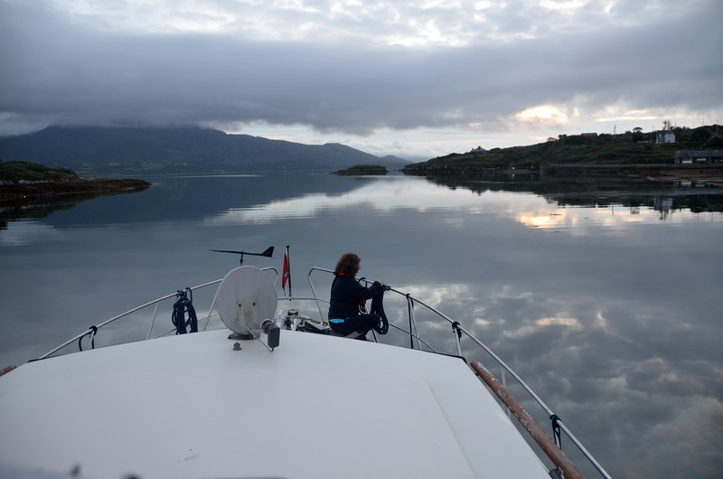 06:15...and we have departed Lawrence Cove Marina. If sea-state could be like this the whole way to Dingle...wow!  But no, it will remains like this until we enter Bantry Bay and then...