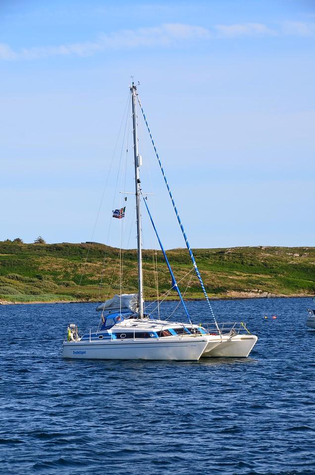 A catamaran moored near us.