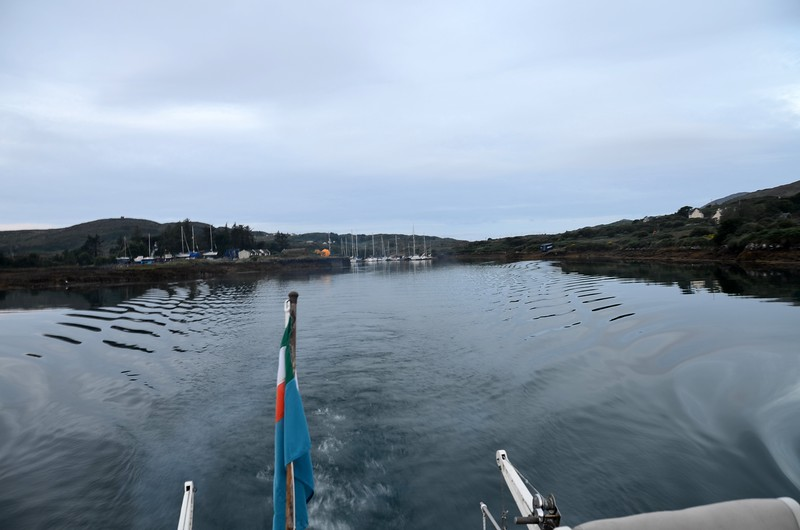 Leaving Lawrence Cove in our wake... well there's not much of it, our wake, I mean!