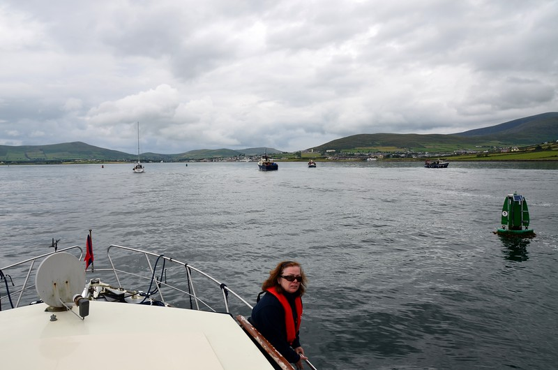 Circa 13:20...in Dingle Harbour. Dolphin-watching boats on our starboard side.  Passage time was approximately seven and a half hours.