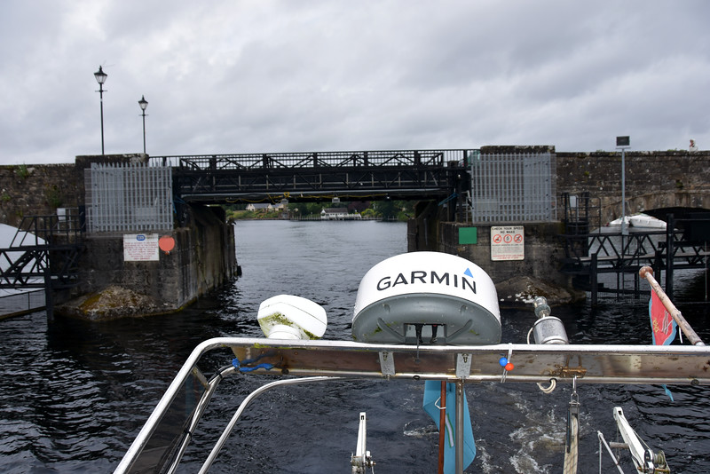With radar arch lowered we pass under Killaloe bridge and head for Ardnacrusha.