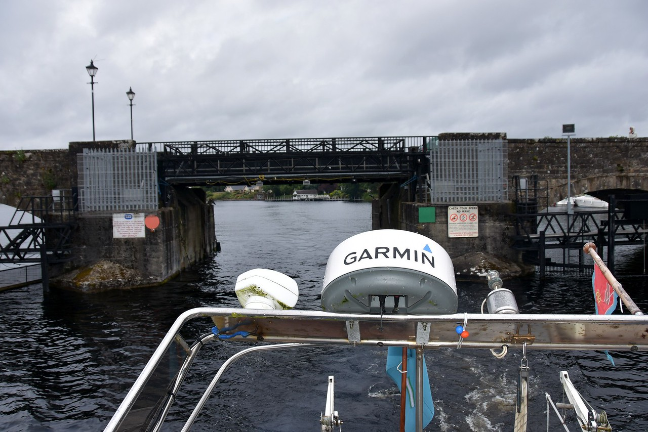 With radar arch lowered we pass under Killaloe bridge and head for Ardnacrusha.