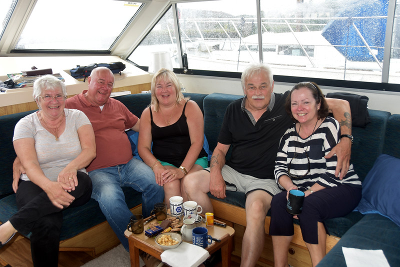 A coffee onboard Snow Mouse after we berth in Kilrush Marina. The faces say it all...