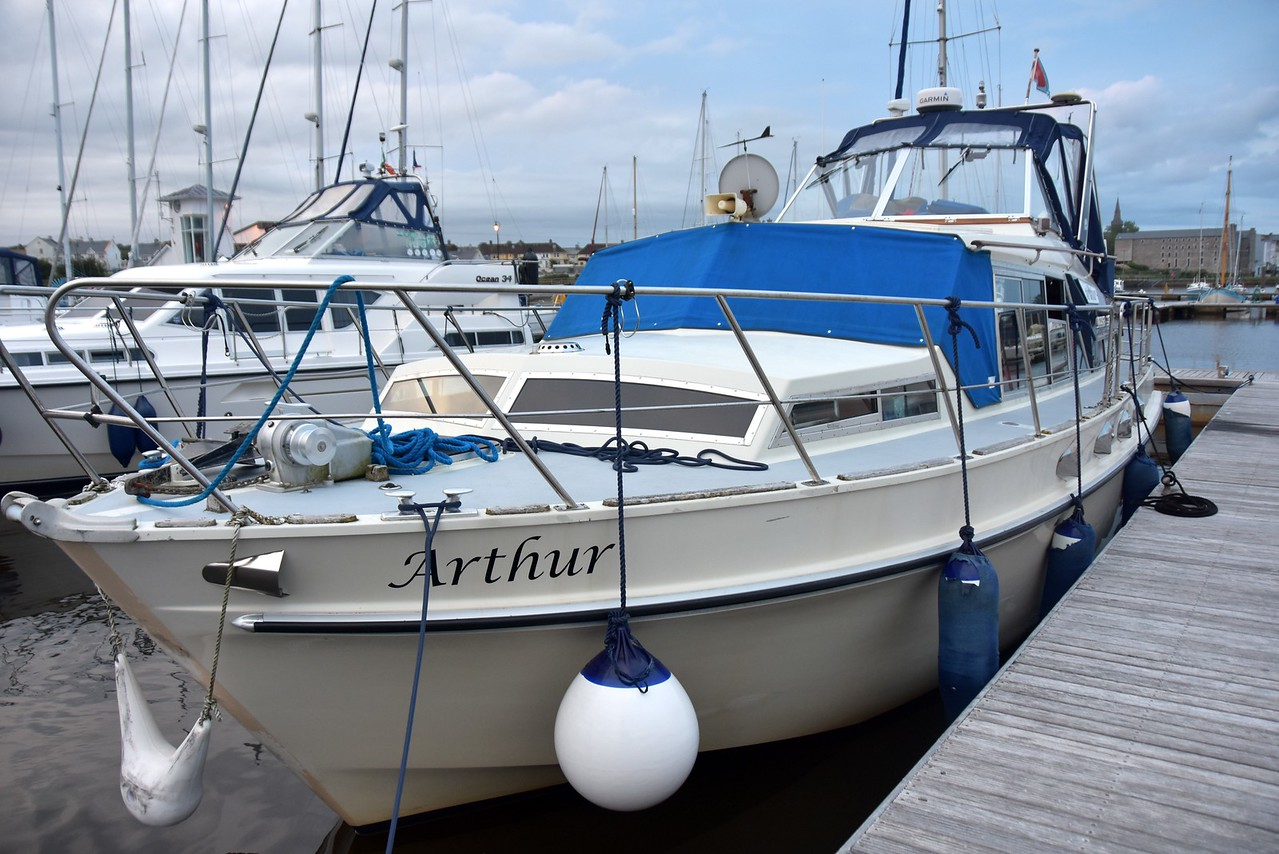 """Arthur"", with Cool Runnings alongside her, in their berths at Kilrush Marina."