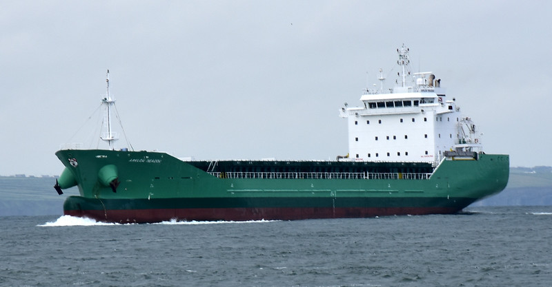 08:42...Arklow Meadow, a general cargo ship built in 2010. 137m x 21m. Draft 8.48m. Gross Tonnage: 9758 t.  And no, we weren't that close. I cropped the original image.