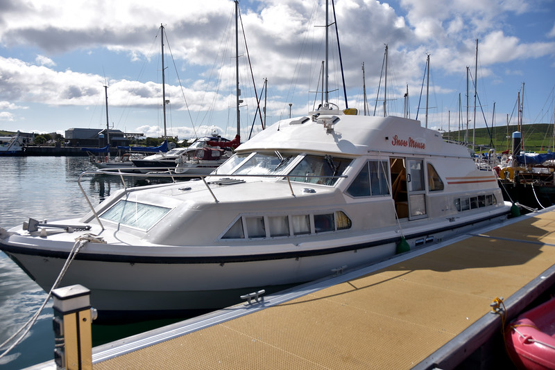 Snow Mouse in her berth on the main jetty at Dingle Marina.