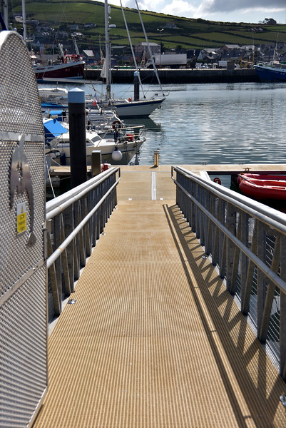 """10:40...a quick run uptown to get the papers and some groceries.  Gangway to main jetty. Bow of """"Arthur"""" just visible at bottom of gangway."""