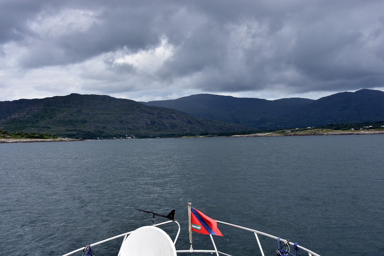 circa 11:50...we have decided to make a detour into Adrigole Harbour. Unfortunately the weather is poor and this popular destination is not showing to best effect today. But it's another item ticked off Arthur's Bucket List.