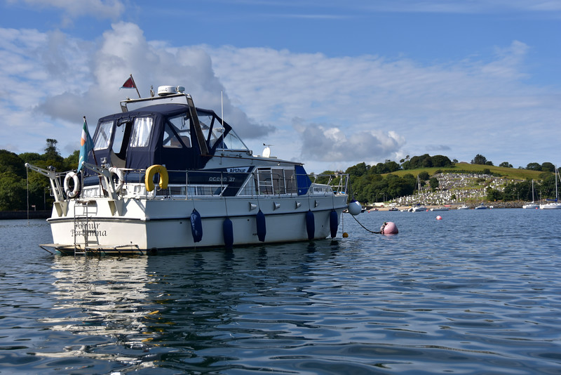 Arthur on her mooring in Bantry Harbour. In the background is the cemetery which overlooks the harbour.