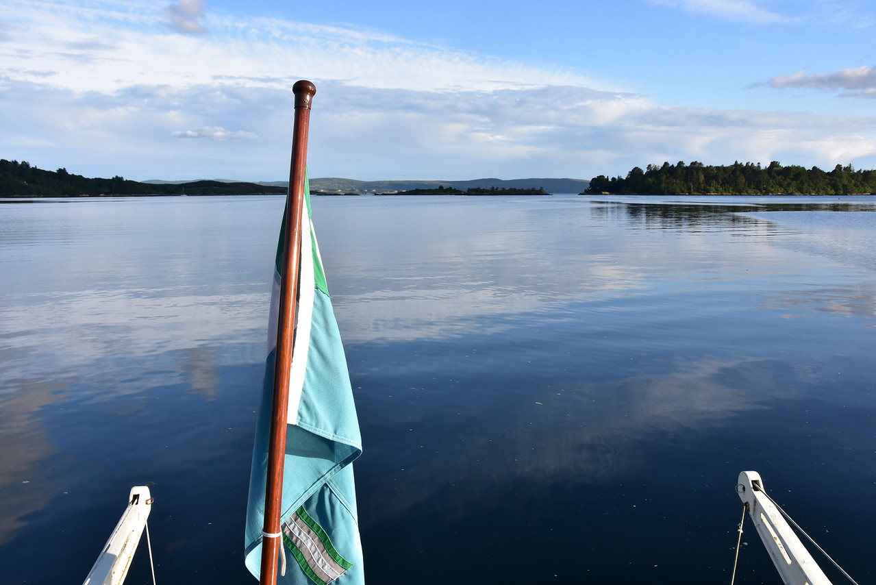 20:00... view from Arthur's stern. Garnish Island to right of photo. Whiddy Island in distance. The evening was so calm, not a ripple on the water!