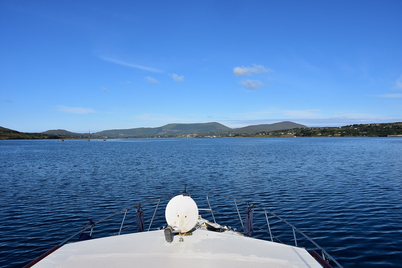 08:52... Heading through Berehaven. The wreck of the Bardini Reefer can be seen partially visible above water.