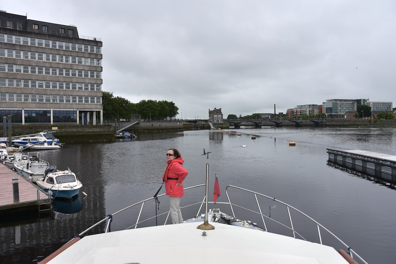 "circa 11:02...""Arthur"" arrives in Limerick. We will make our way up to the floating jetty (straight ahead in photo) this side of Sarsfield Lock."