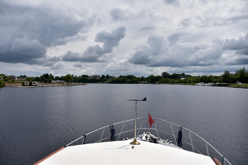"circa 13:55...The old Derg Marina on the left and Kincorca Marina on the right as ""Arthur"" makes the approach to the public jetty at Killaloe."