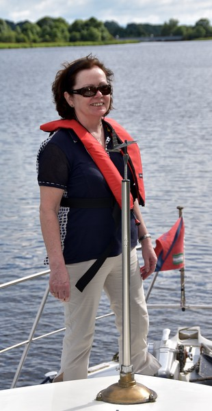 """Mary at the bow as """"Arthur"""" approaches Portumna Bridge."""