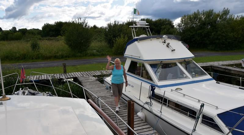 Veronica Trimble (Celtic Princess) waves as we depart Maddens Marina.