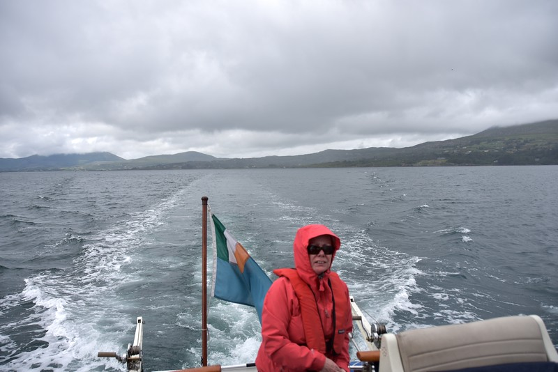 13:46..Looking astern as we make our way through Berehaven towards Lawrence Cove Marina.
