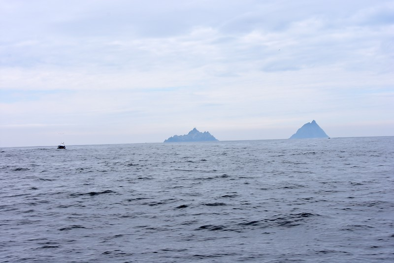 Skellig Islands. Note various boats (one clearly visible on left of photo...others represented by microscopic dots in the distance!) in the vicinity.